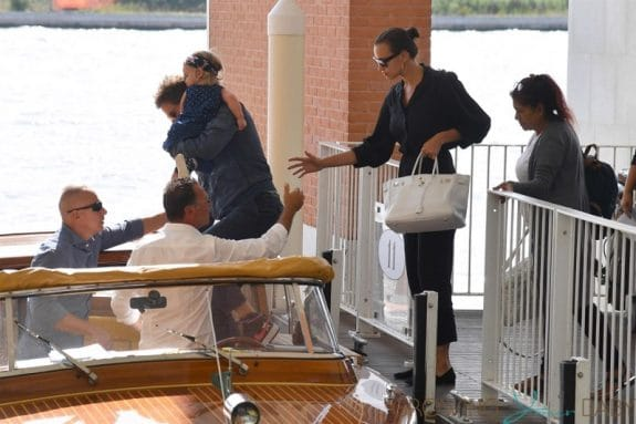 Bradley Cooper and Irina Shayk arrive with their daughter Lea in Venice for the 75th Venice International Film Festival