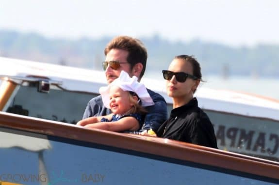 Bradley Cooper and Irina Shayk arrive with their daughter Lea in Venice for the 75th Venice International Film Festival.