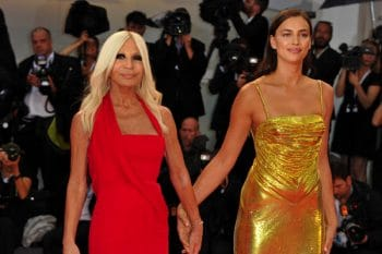 Irina Shayk and Donatella Versace at 'A Star Is Born' screening during 75th Venice Film Festival in Venice, Italy