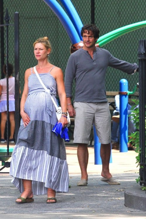 Pregnant Claire Danes and husband Hugh Dancy with their son in New York