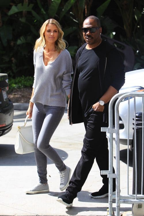Eddie Murphy and Paige Butcher attend the Lakers game in Los Angeles