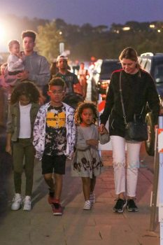 Ellen Pompeo and Chris Ivery and the kids Stella and Sienna arrive at the Malibu Fair