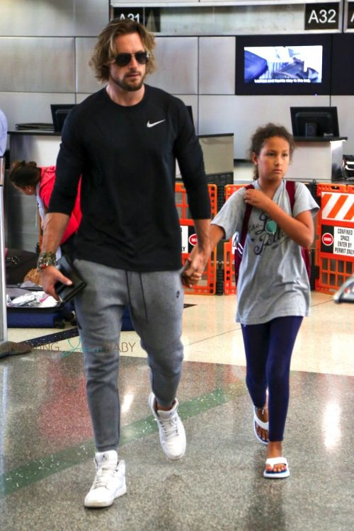Gabriel Aubry and daughter Nahla depart Los Angeles at LAX