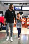 Model Gabriel Aubry and daughter Nahla depart Los Angeles at LAX