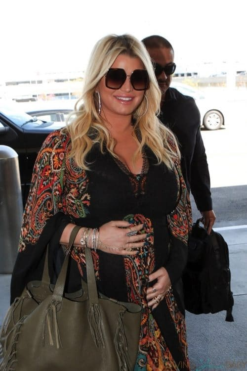 Pregnant Jessica Simpson at the airport in LA