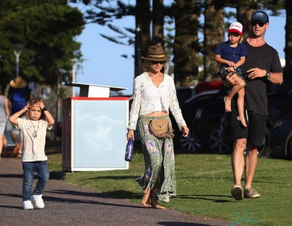 Chris Hemsworth and wife Elsa Pataky take their twins Sasha and Tristan to the park