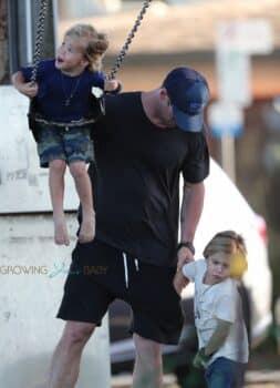 Chris Hemsworth and wife Elsa Pataky take their twins Sasha and Tristan to the park.