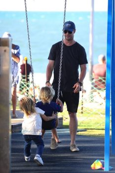 Chris Hemsworth and wife Elsa Pataky take their twins Sasha and Tristan to the park.