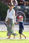 Elsa Pataky at the park with her twins Sasha and Tristan