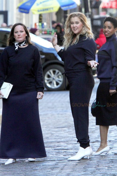 Pregnant Amy Schumer shoots a clothing line commercial in New York