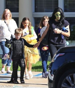 Actress Jennifer Garner gets in the Halloween spirit as she picks up her kids from school in Santa Monica