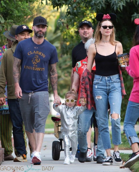 Adam Levine and Behati Prinsloo take their daughter out fr halloween