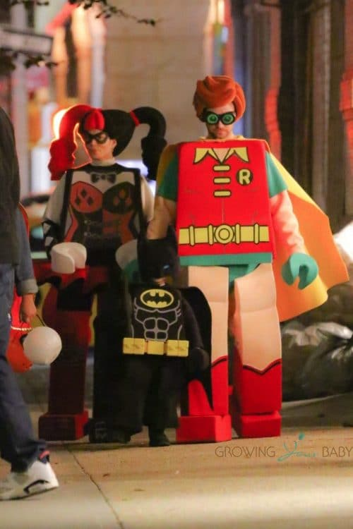 Justin Timberlake and Jessica Biel take their son for a trick or treat stroll around Tribeca Neighborhood