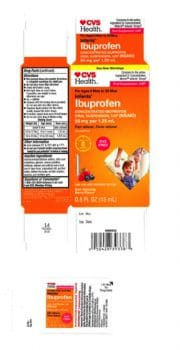CVS Infants Ibuprofen Concentrated Oral Suspension, USP (NSAID), 50 mg per 1.25 mL, 0.5 oz. bottle