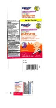 Equate Infants' Ibuprofen Concentrated Oral Suspension, USP (NSAID), 50 mg per 1.25 mL, 0.5 oz. bottle