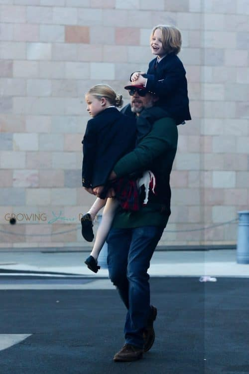 Eric Johnson out with kids Maxwell and Ace