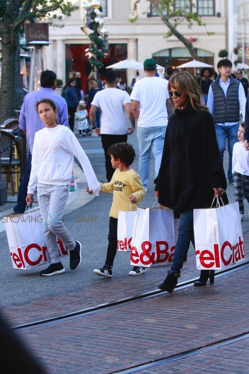 Halle Berry takes her kids Nahla and Maceo holiday shopping at The Grove