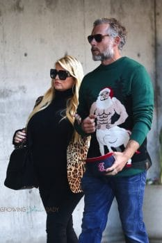 Pregnant Jessica Simpson enjoys a Christmas event with her husband Eric Johnson