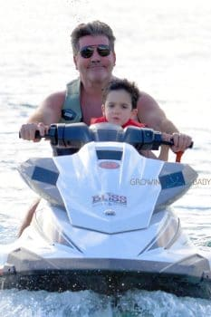 Simon Cowell and son Eric Cowell enjoy an afternoon on jet skis in Barbados