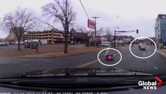 Dashcam Catches Child Seat Falling From Moving Vehicle