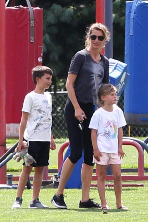 Gisele Bundchen brought the kids to Gillette Stadium to visit Tom Brady on his 41st birthday