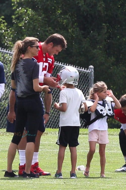 Tom Brady with wife Gisele, daughter Vivian and son Ben at practice august 3 2018