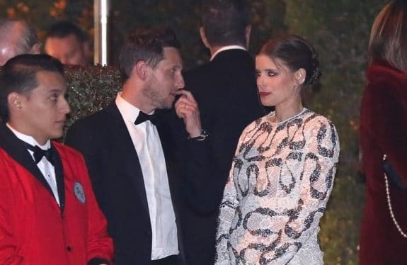 A pregnant Kate Mara and Jamie Bell leave the 27th Annual Elton John AIDS Foundation Academy Awards Viewing Party f