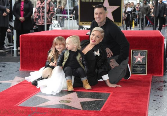 Pink, Alecia Moore, Carey Hart, Willow Sage Hart, Jameson Moon Hart at walk of Fame Ceremony