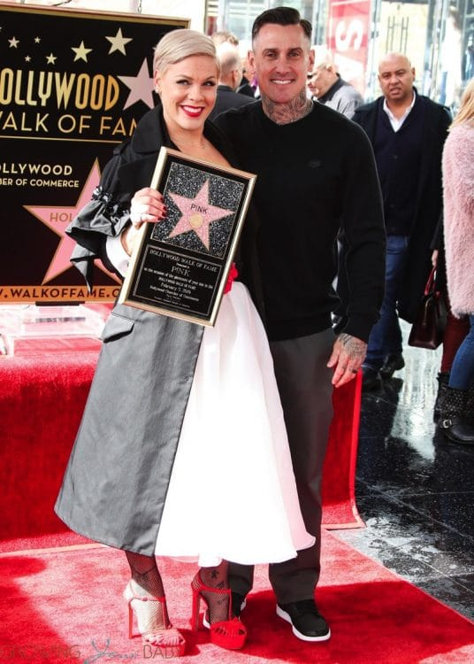 Pink Celebrates Hollywood Walk Of Fame Star With her husband Carey Hart