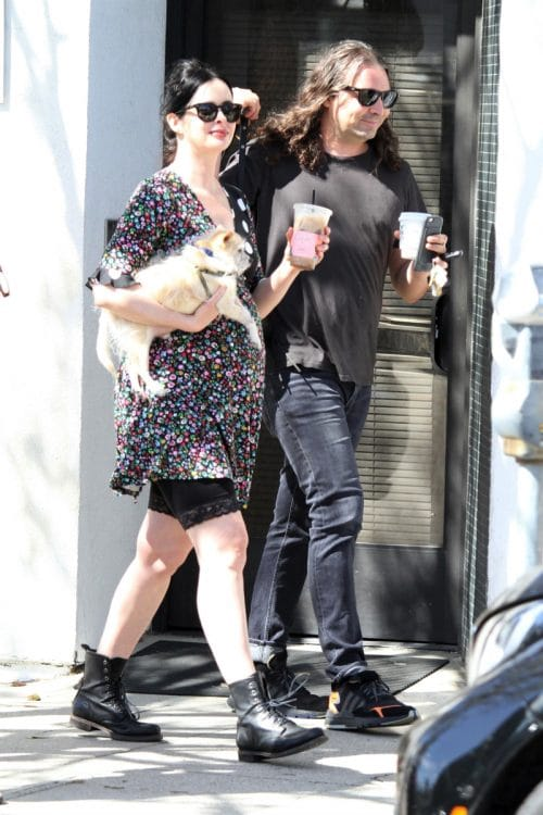 Pregnant Krysten Ritter shows her growing baby bump on a coffee run with husband Adam Granduciel
