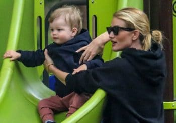 Rosie Huntington-Whiteley enjoys a park playdate with her son Jack f