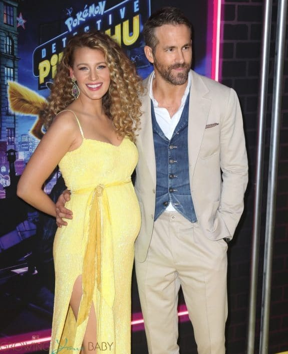 Blake Lively debuts baby bump at the premiere of 'Pokemon' with Ryan Reynolds