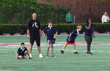 Tom Brady Plays Football With Sons Ben & John At Harvard University Event