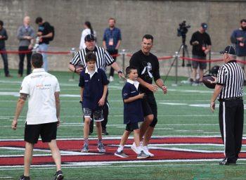 Tom Brady Plays Football With Sons Ben & John At Harvard University Event