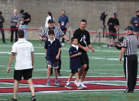 Tom Brady Plays Football With Sons Ben & John At Harvard University Event 2019