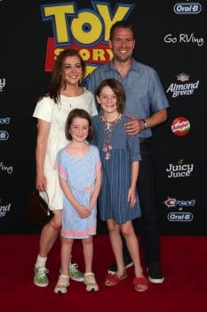 Alyson Hannigan, Alexis Denisof, Satyana Marie Denisof, Keeva Jane Denisof at Toy Story 4 premiere.jpg