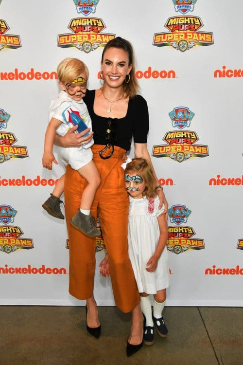 Elizabeth Chambers with kids Harper and Ford at Paw Patrol event