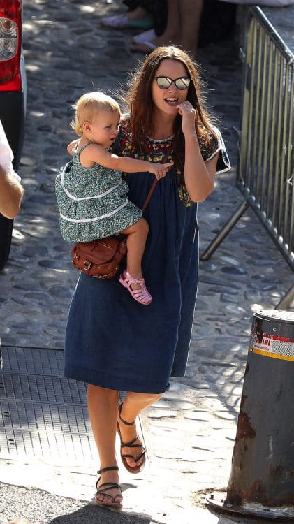 Keira takes baby daughter Edie for a stroll in France