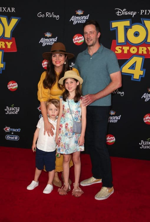 Tiffani Thiessen, Brady Smith, Harper Renn Smith, Holt Fisher Smith at Toy Story 4 premiere.jpg