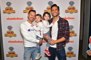 cheyenne jackson and jason landau kids with twins Willow and Ethan at Paw Patrol event