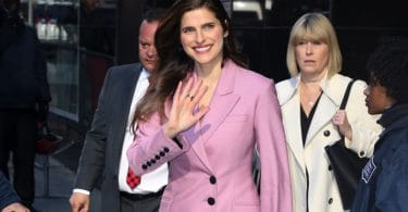Lake Bell is pretty in a pink pant suit outside of GMA f