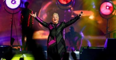 PINK performs live on stage in the UK