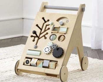 Recalled Crate and Barrel Activity Push Walker with child developmental activities embedded in the face f