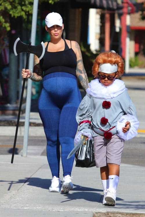 Pregnant Amber Rose costume shopping with her son Sebastian.
