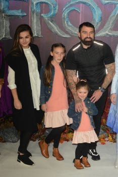Ant Middleton with daughters Shyla and Priseis at frozen 2 premiere