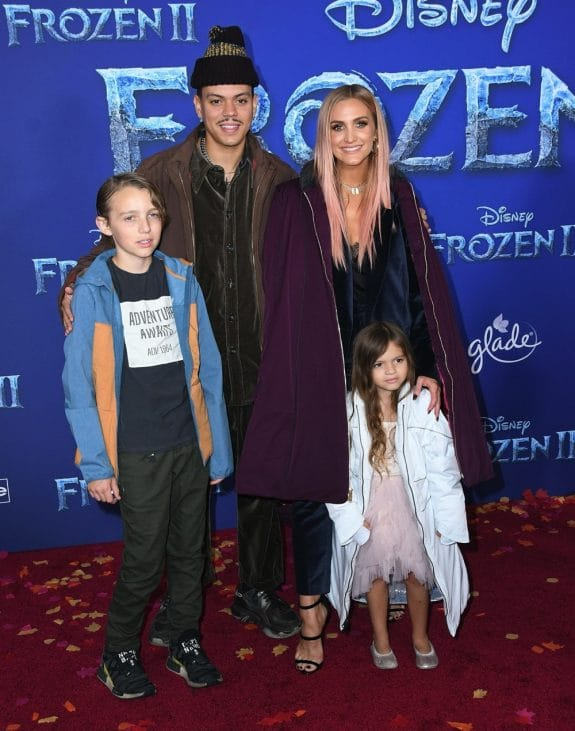 Evan Ross and Ashlee Simpson with kids Bronz and Jagger at Frozen 2 premiere in LA