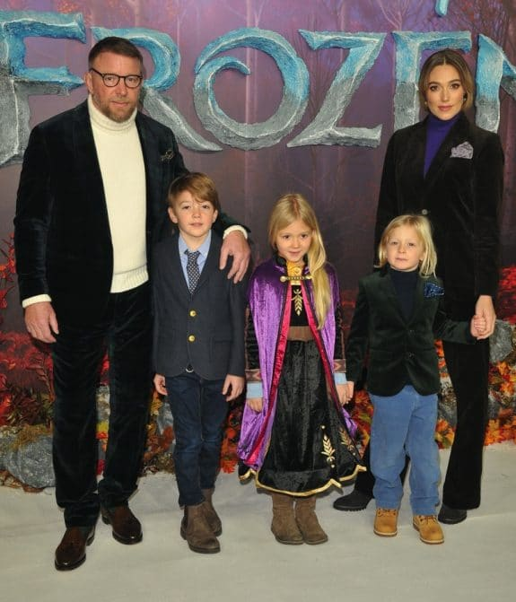 Guy Ritchie, Jacqui Ainsley and their 3 kids; Rafael, Rivka and Levi at frozen 2 premiere