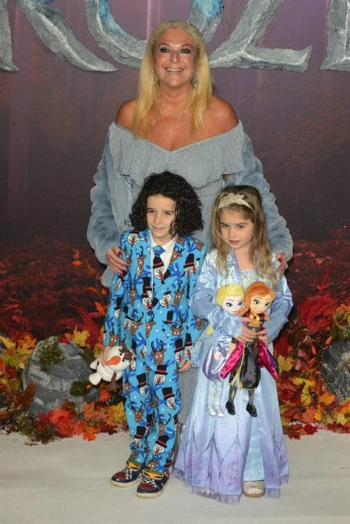 Vanessa Feltz with her grandchildren at frozen 2 premiere