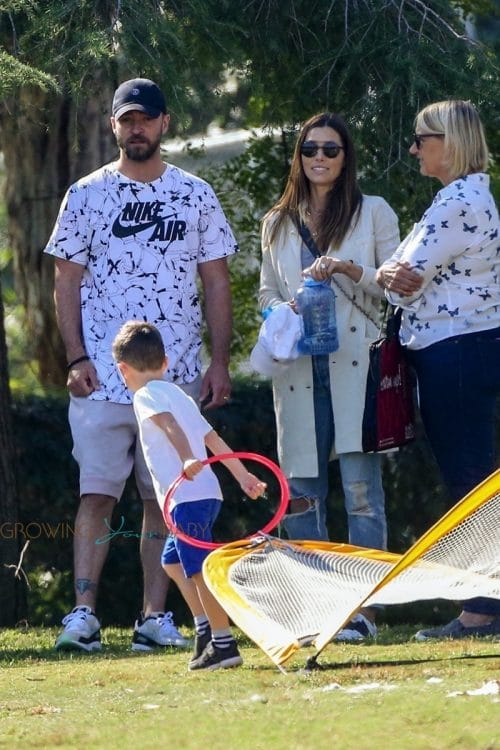 Justin Timberlake and Jessica Biel were spotted with their son Silas at the park for baseball practice on October 29, 2019