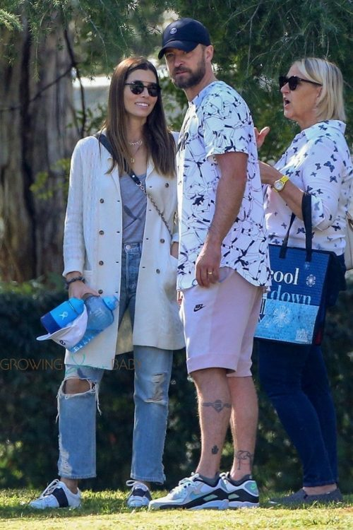 Justin Timberlake and Jessica Biel take their son Silas to the park in LA